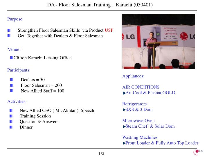 DA - Floor Salesman Training – Karachi (050401)
