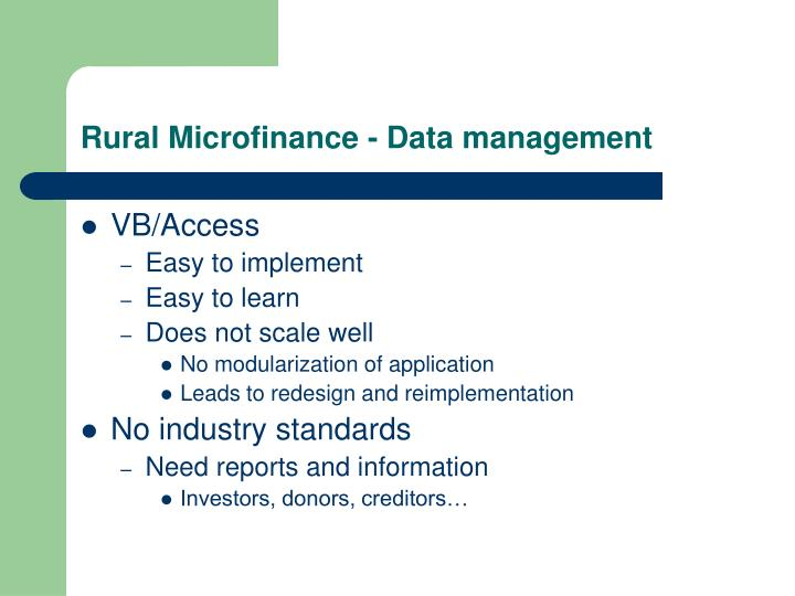 Rural Microfinance - Data management