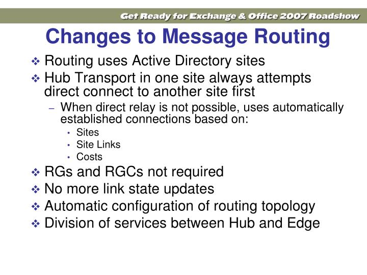 Changes to Message Routing