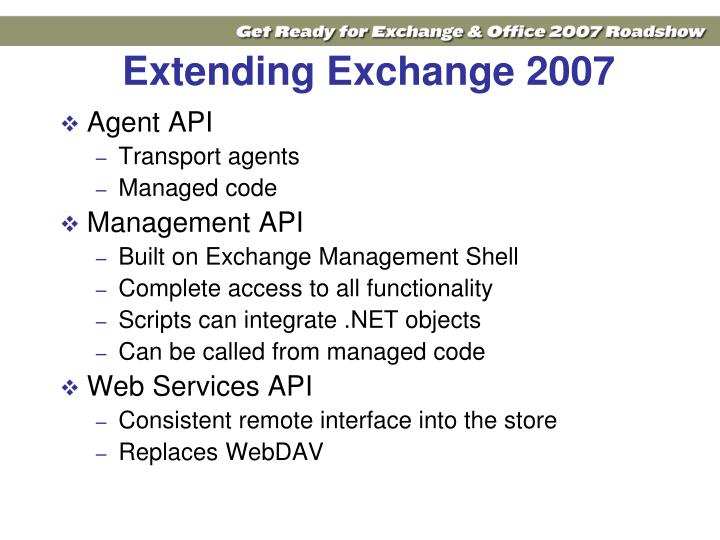 Extending Exchange 2007
