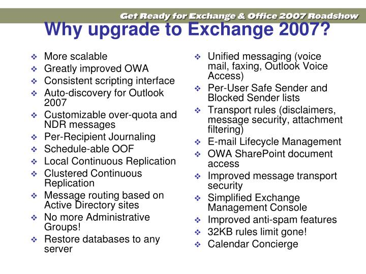 Why upgrade to Exchange 2007?