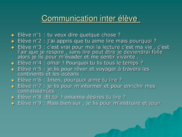 Communication inter élève