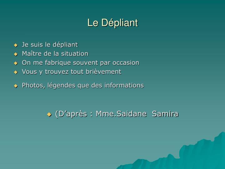 Le Dépliant