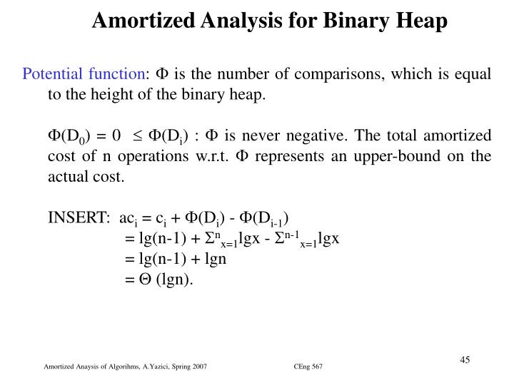 Amortized Analysis for Binary Heap