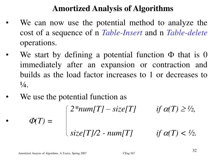 Amortized Analysis of