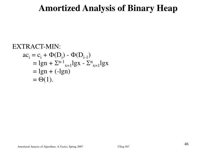 Amortized Analysis of Binary Heap