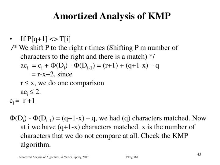 Amortized Analysis of KMP