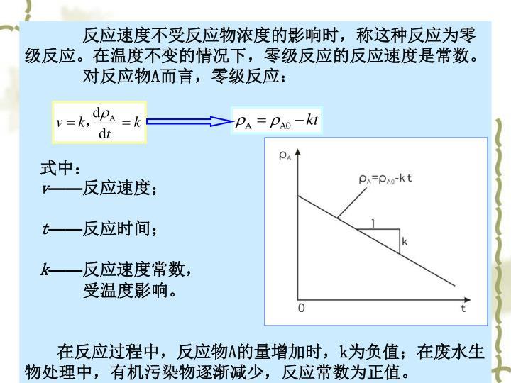 反应速度不受反应物浓度的影响时,称这种反应为零级反应。在温度不变的情况下,零级反应的反应速度是常数。