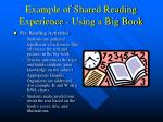 example of shared reading experience using a big book