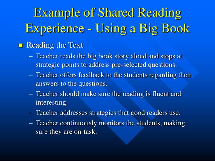 Example of Shared Reading Experience - Using a Big Book