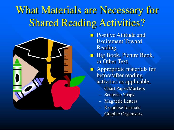 What materials are necessary for shared reading activities