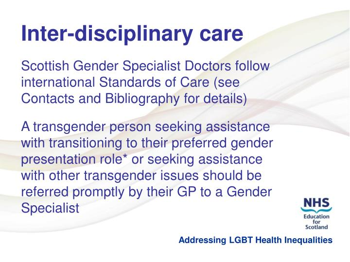 Inter-disciplinary care