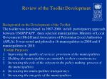 review of the toolkit development