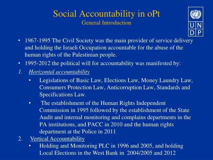 Social accountability in opt general introduction