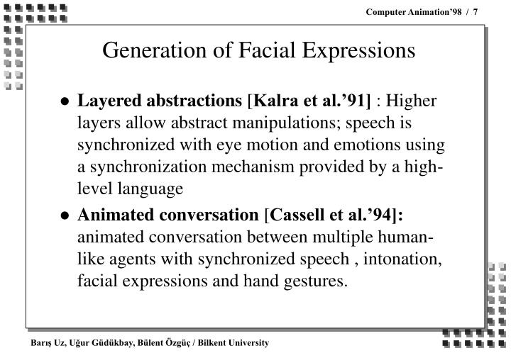 Generation of Facial Expressions