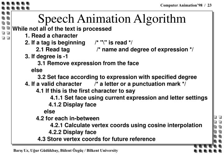 Speech Animation Algorithm
