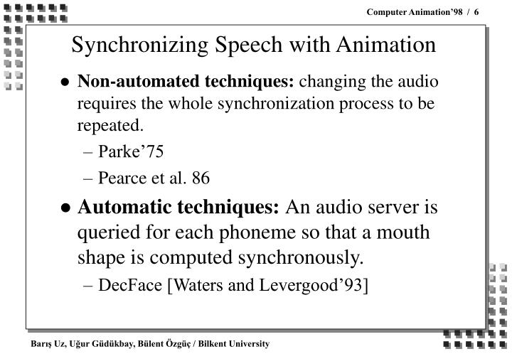 Synchronizing Speech with Animation
