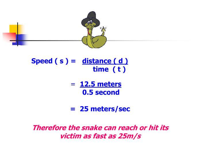 Speed ( s ) =