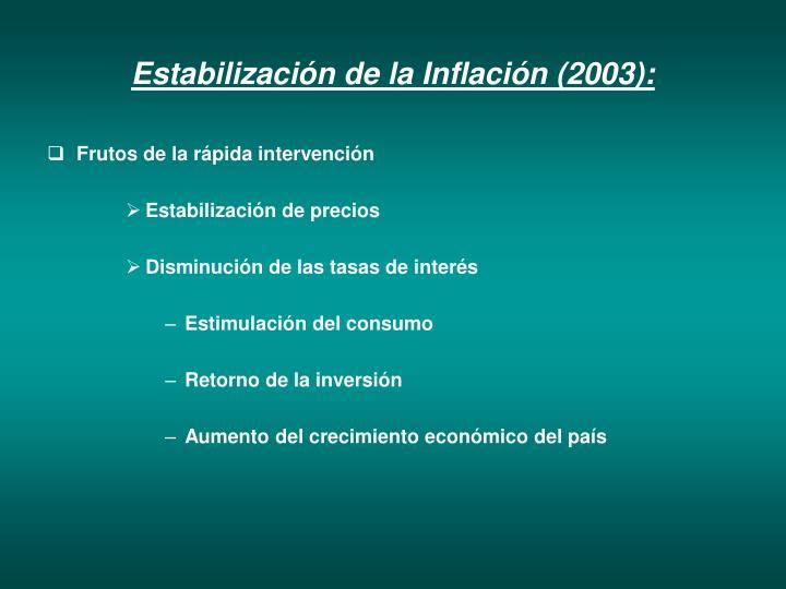 Estabilización de la Inflación (2003):