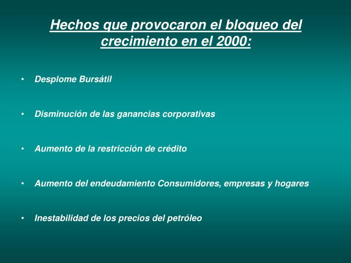 Hechos que provocaron el bloqueo del crecimiento en el 2000: