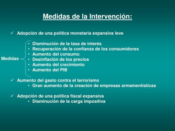 Medidas de la Intervención: