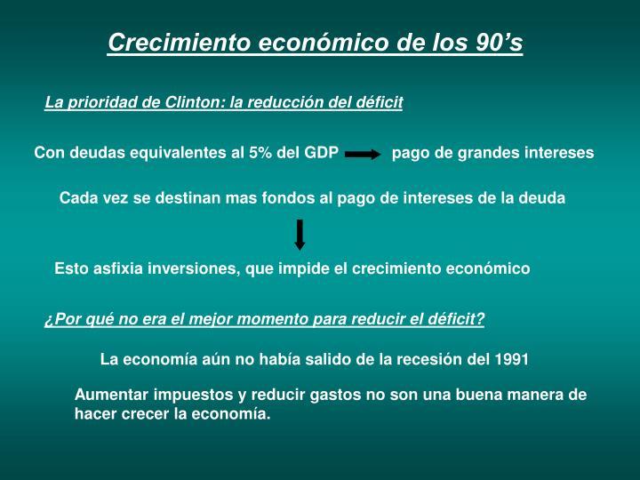 Crecimiento económico de los 90's