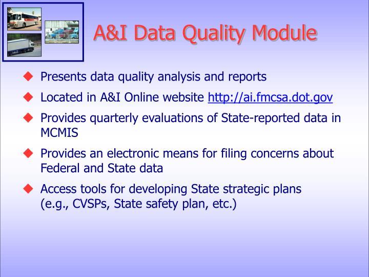 A&I Data Quality Module