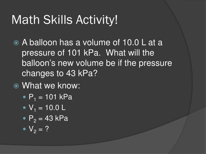 Math Skills Activity!