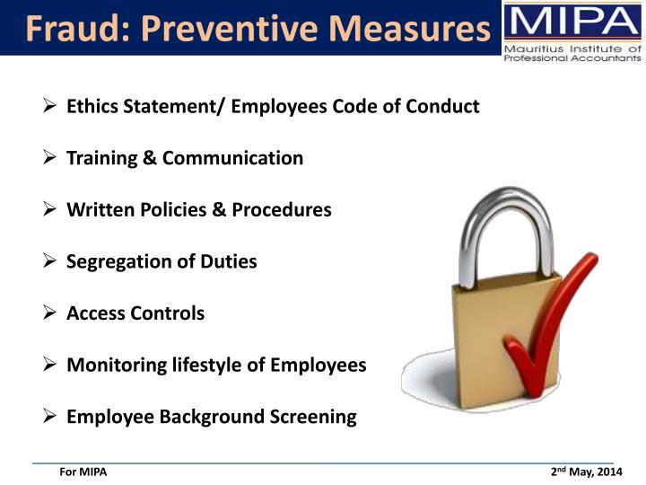 Fraud: Preventive Measures