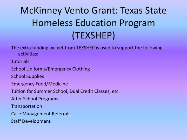 McKinney Vento Grant: Texas State Homeless Education Program (TEXSHEP)