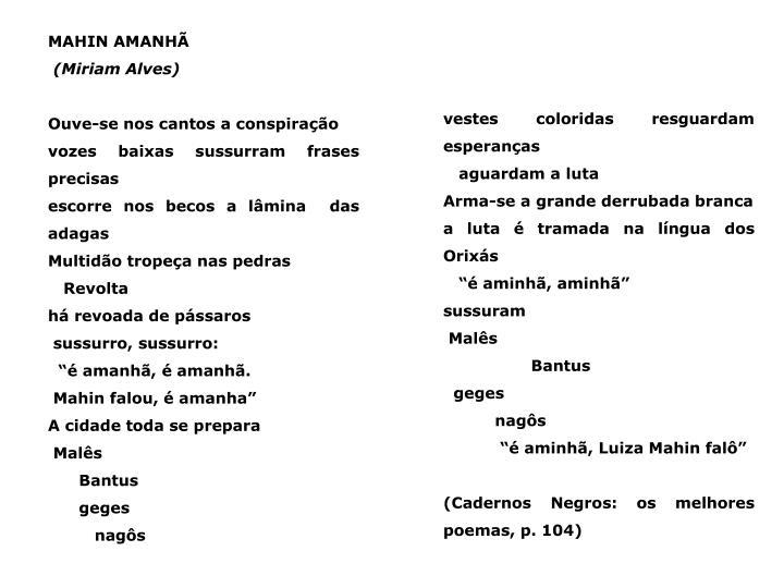 MAHIN AMANHÃ