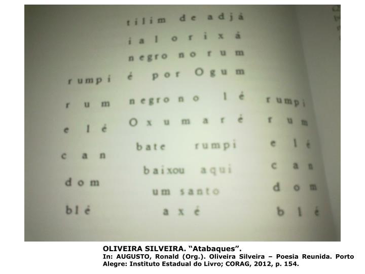 """OLIVEIRA SILVEIRA. """"Atabaques""""."""