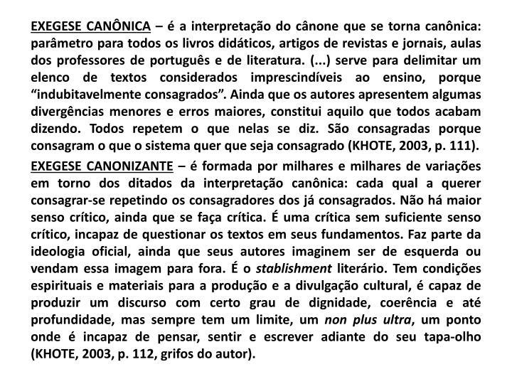 EXEGESE CANÔNICA