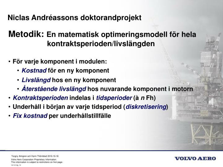 Niclas Andréassons doktorandprojekt