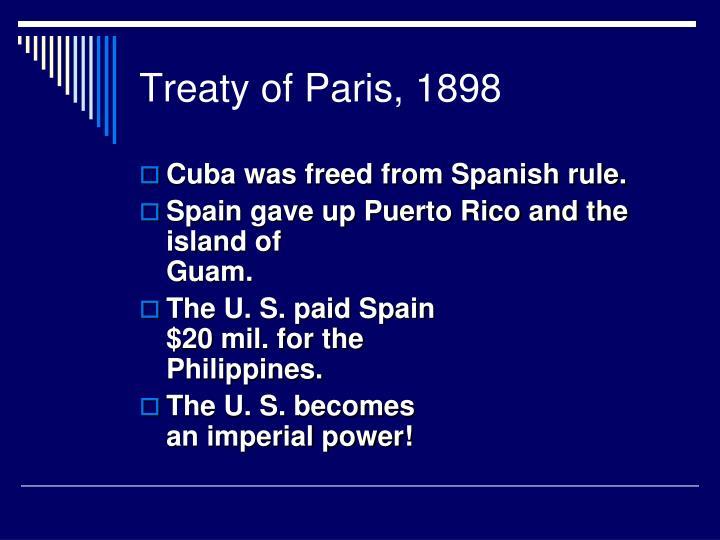Treaty of Paris, 1898