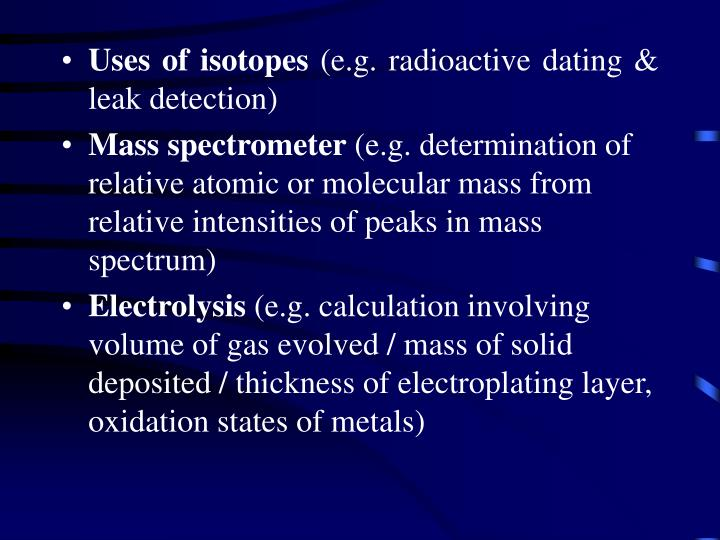 Uses of isotopes