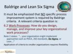baldrige and lean six sigma