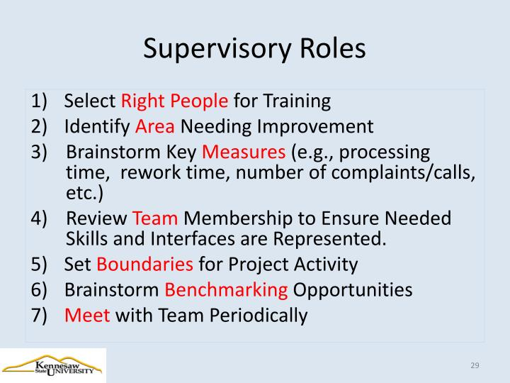 Supervisory Roles