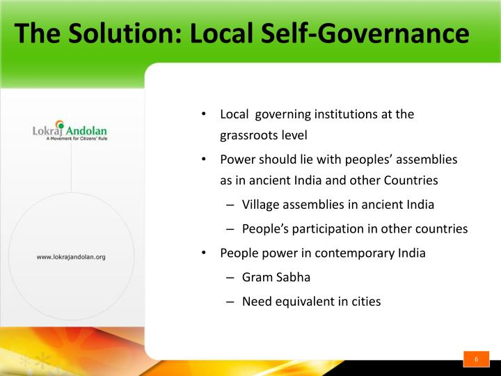 The Solution: Local Self-Governance