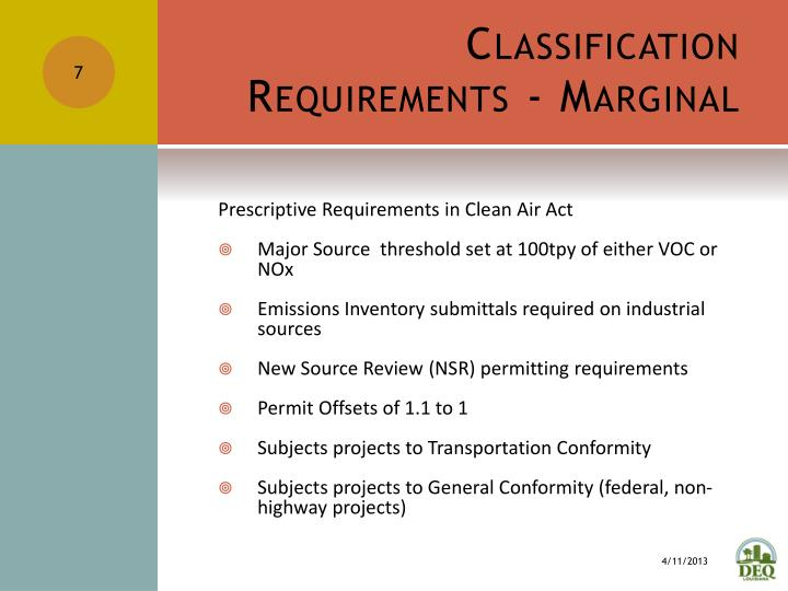 Classification Requirements - Marginal