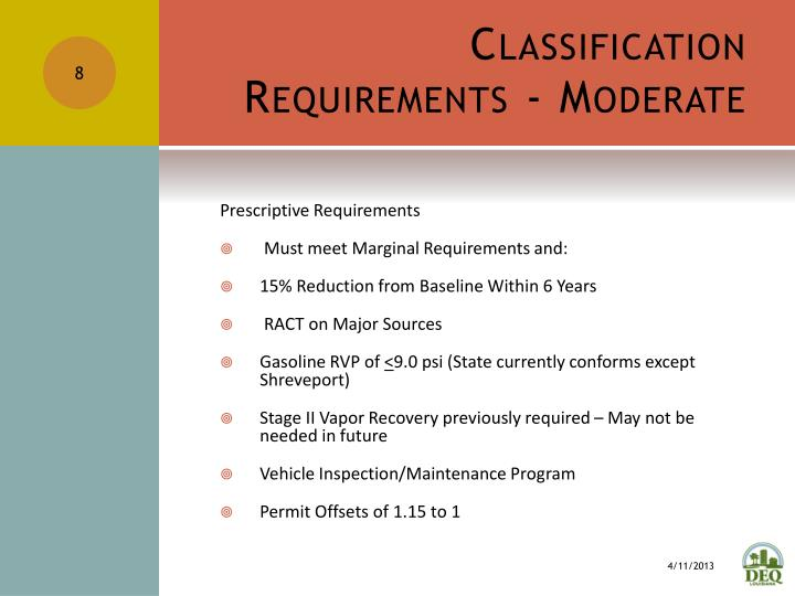 Classification Requirements - Moderate