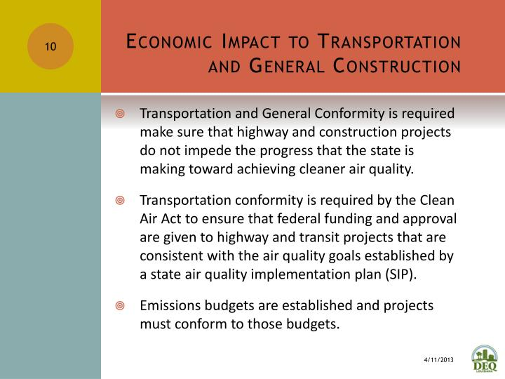 Economic Impact to Transportation and General Construction