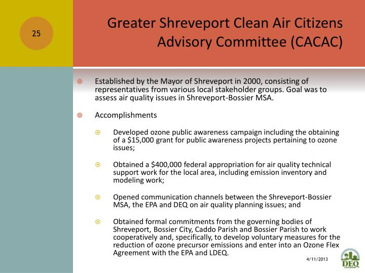 Greater Shreveport Clean Air Citizens Advisory Committee (CACAC)