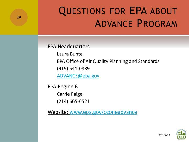 Questions for EPA about Advance Program