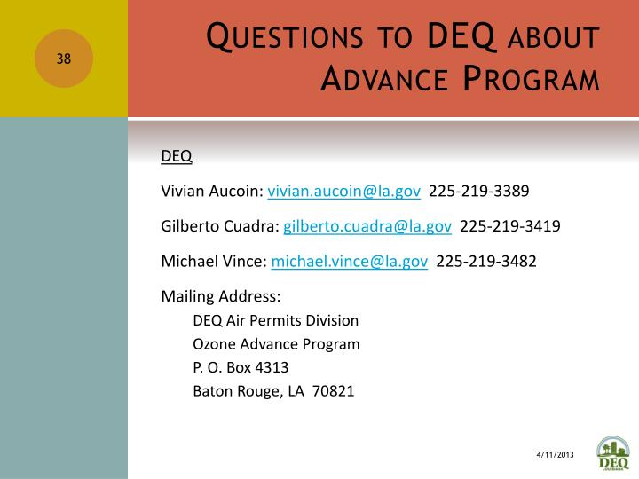 Questions to DEQ about Advance Program