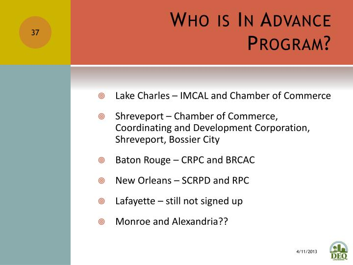 Who is In Advance Program?