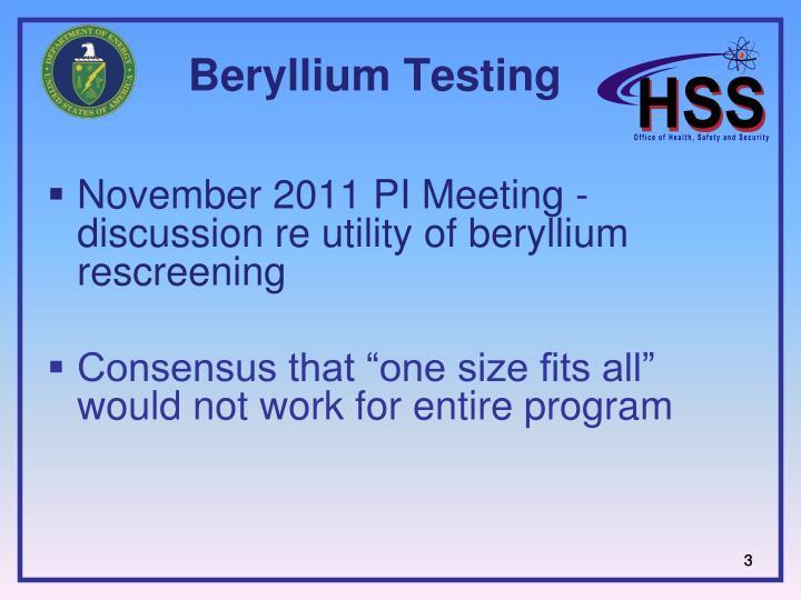 Beryllium Testing