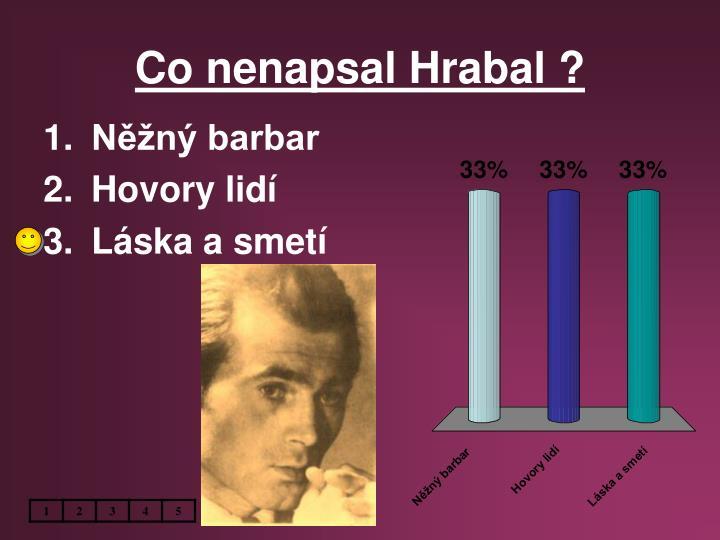 Co nenapsal Hrabal ?