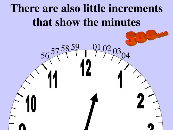 There are also little increments that show the minutes