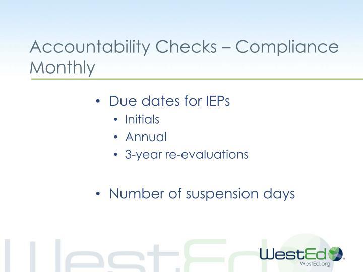 Accountability Checks – Compliance